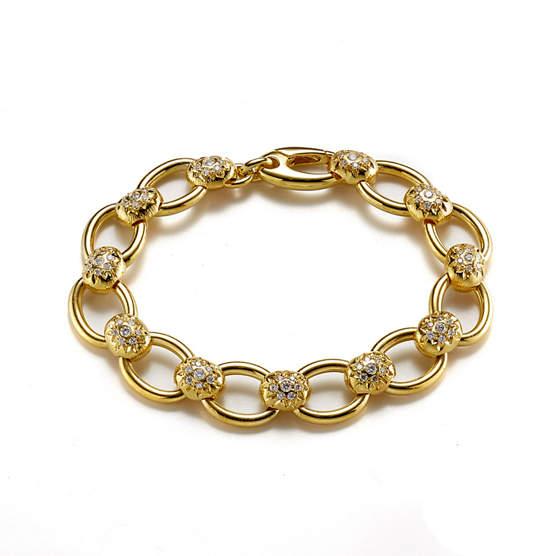 Yellow Gold & Diamond Link Bracelet