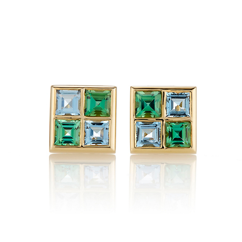 Gump's Green Tourmaline & Aquamarine Windowpane Earrings