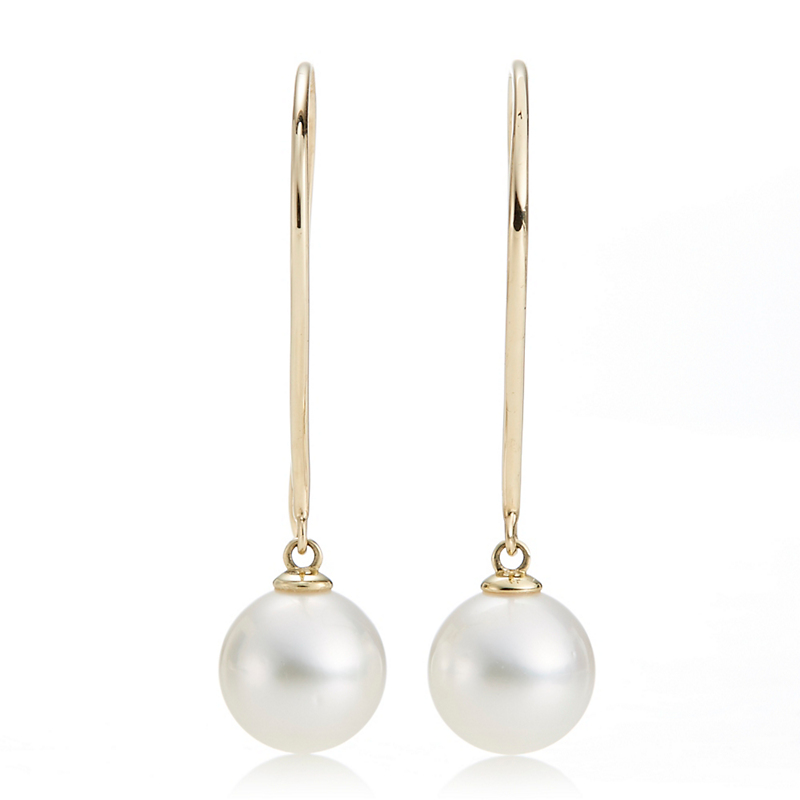 Long Wire Freshwater Pearl Drop Earrings