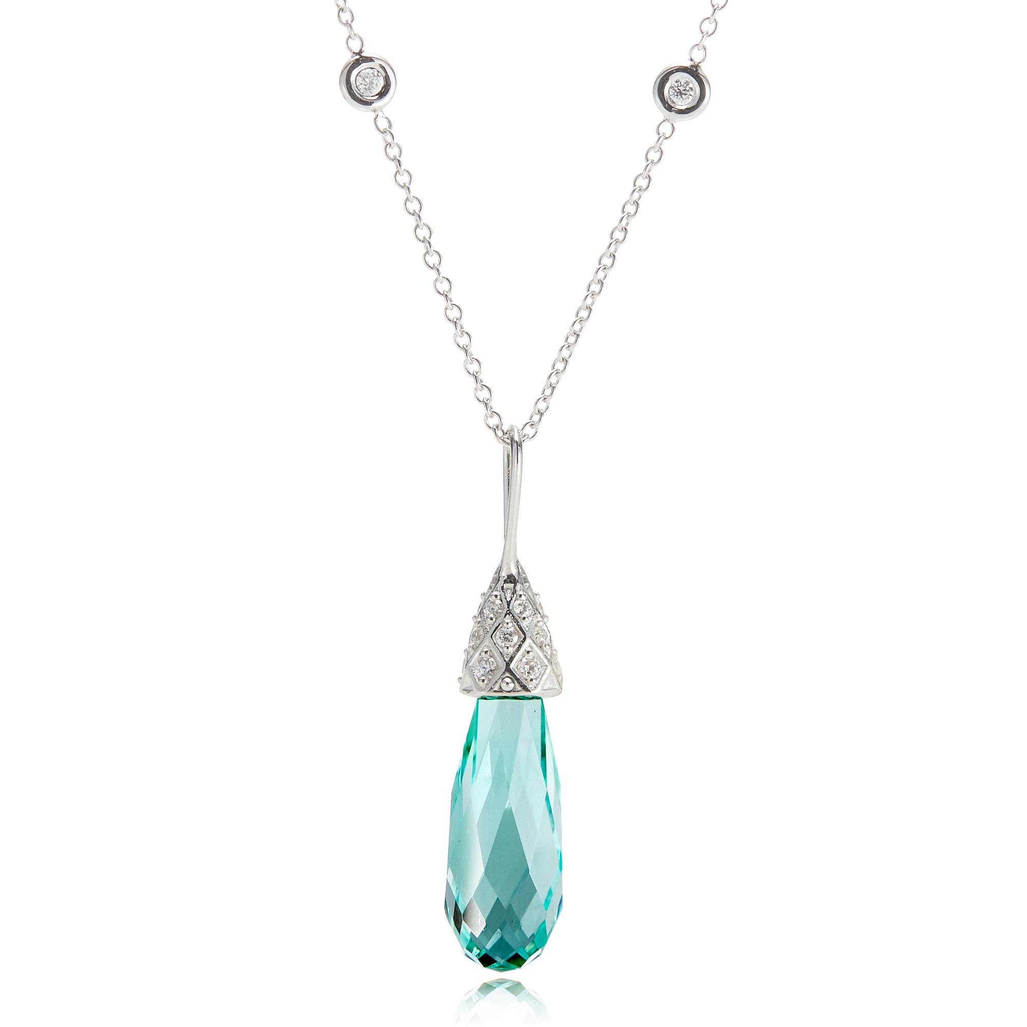 Gump's Faceted Tourmaline Briolette & Diamond Honeycomb Necklace