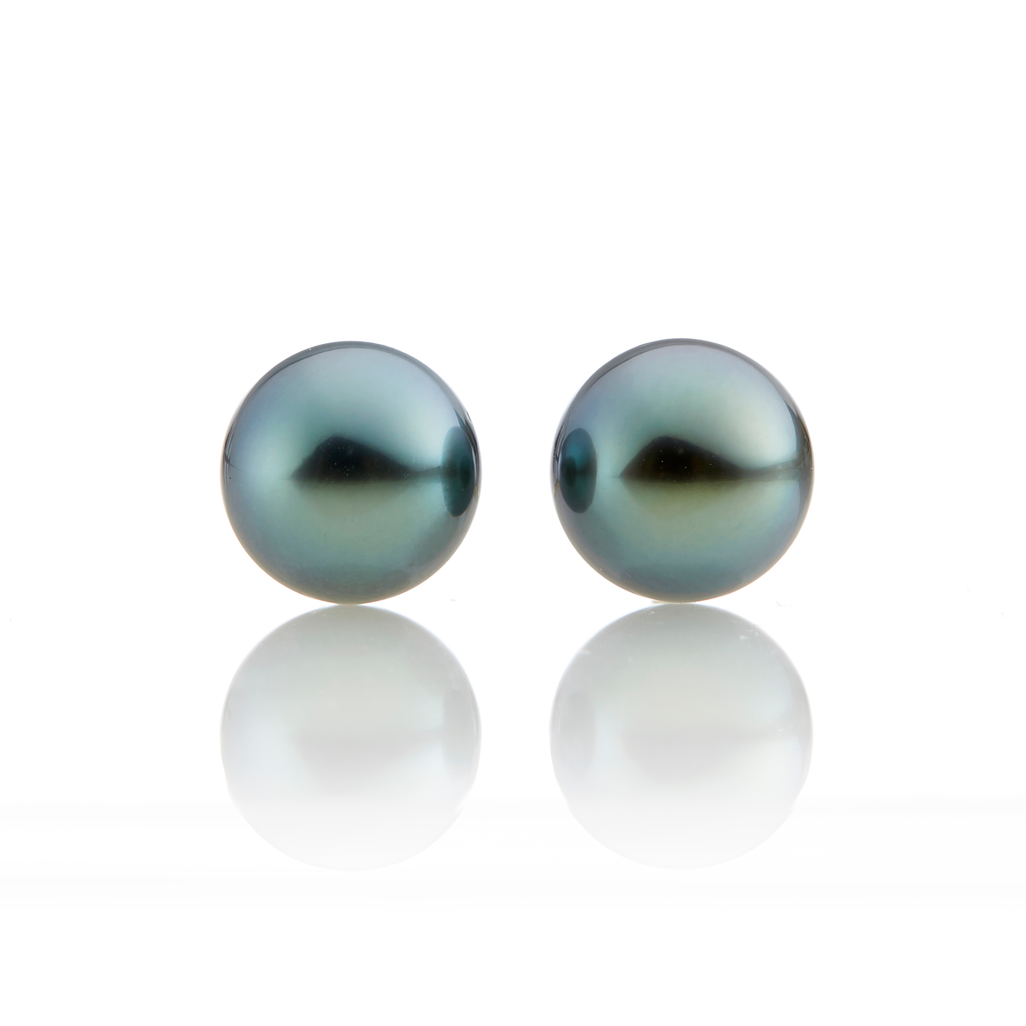 Gump's Blue Green Tahitian Pearl Stud Earrings