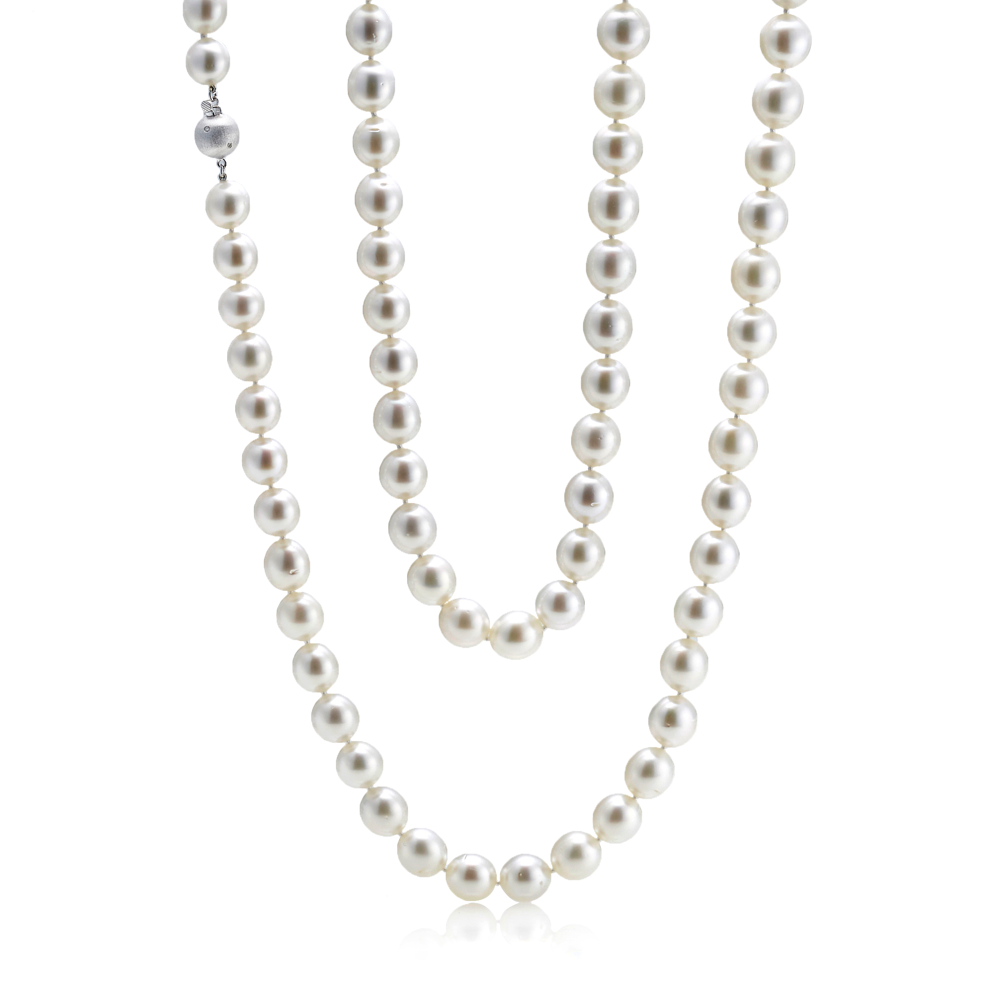 Gump's Graduated White South Sea Pearl & Matte Diamond Ball Clasp Necklace