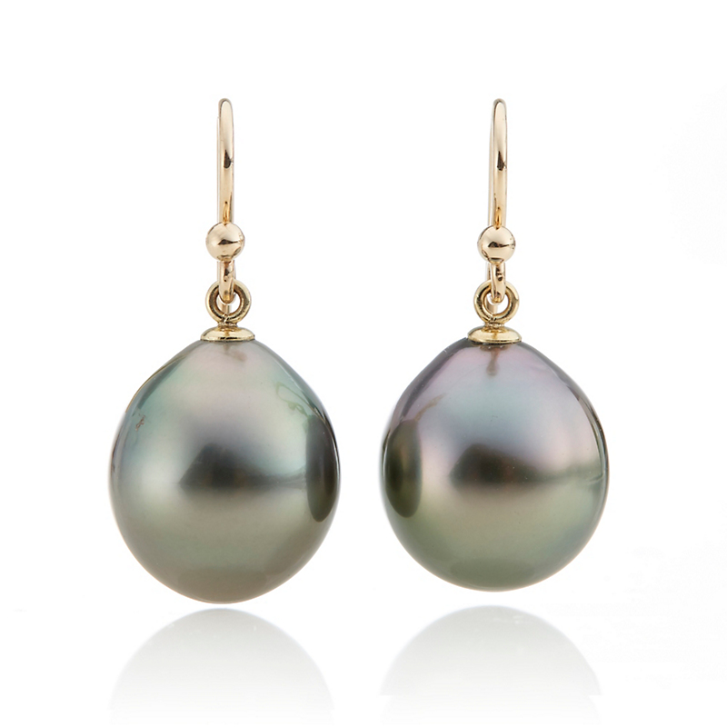 Gump's Deep Grey Tahitian Pearl Drop Earrings