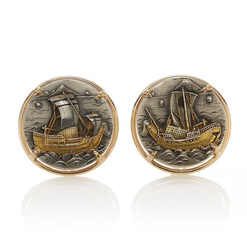 Gump's Japanese Antique Sailing Ships Earrings