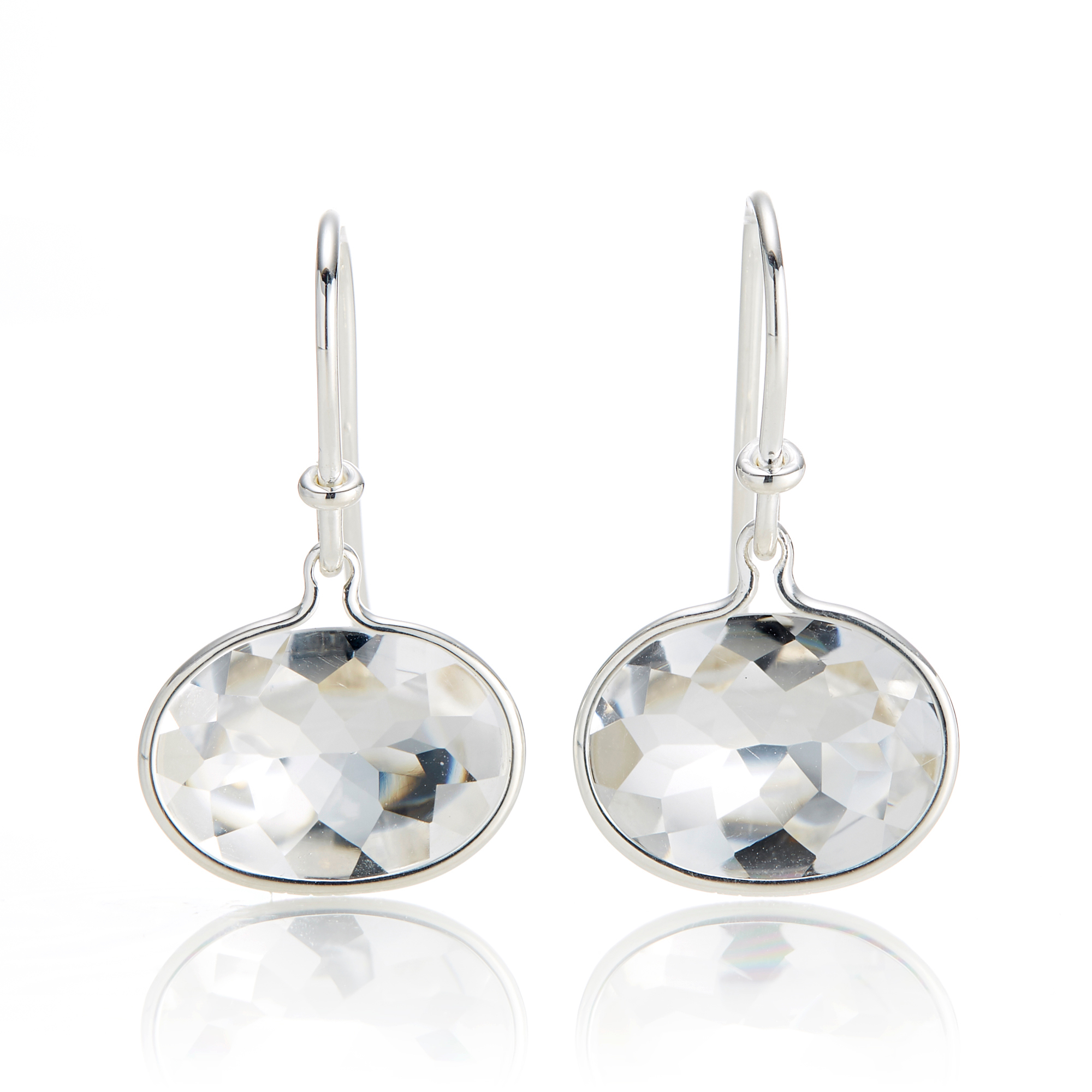 Georg Jensen Savannah Rock Crystal Sterling Silver Drop Earrings