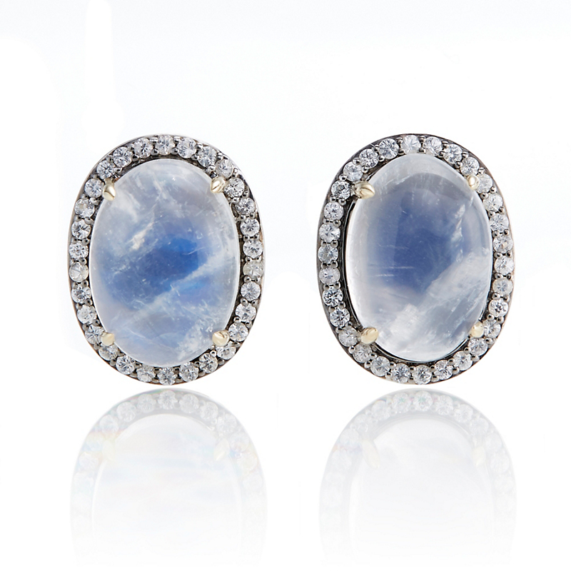 Gump's Moonstone & White Sapphire Halo Earrings