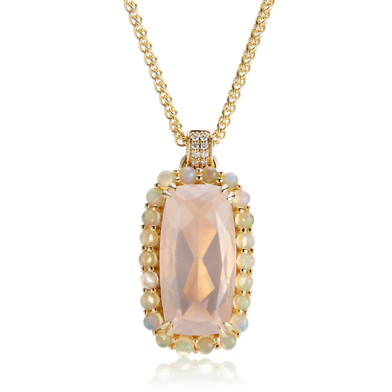 Gump's Rose Quartz & Opal Halo Pendant Necklace