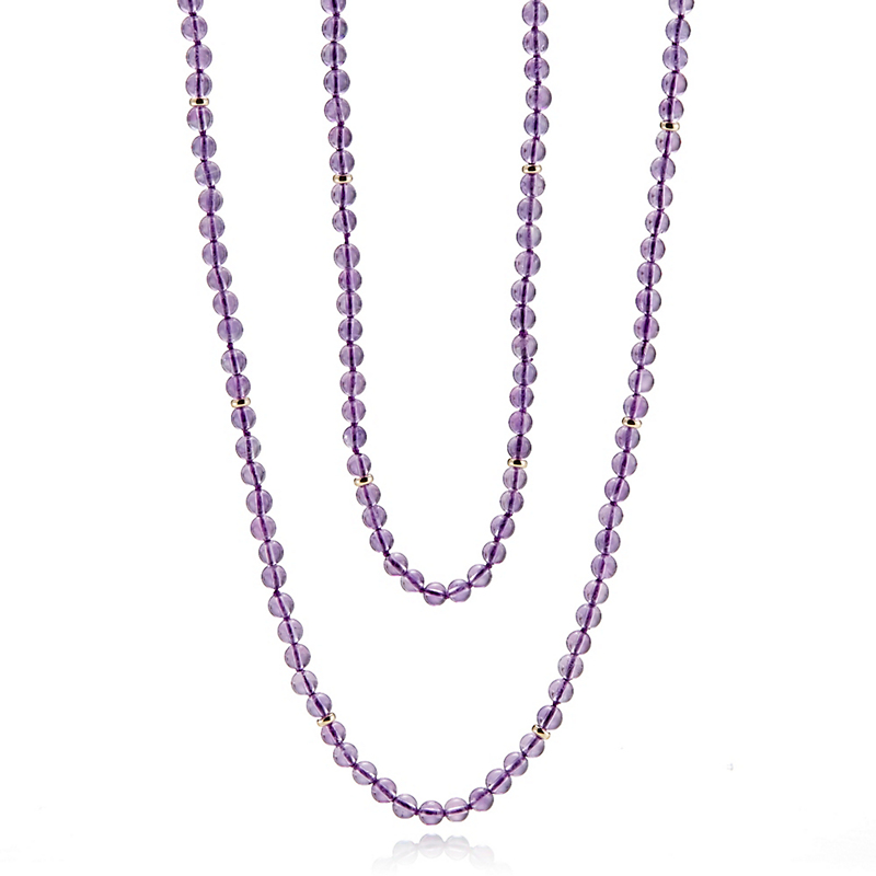 Gump's Petite Smooth Amethyst & Gold Rope Necklace
