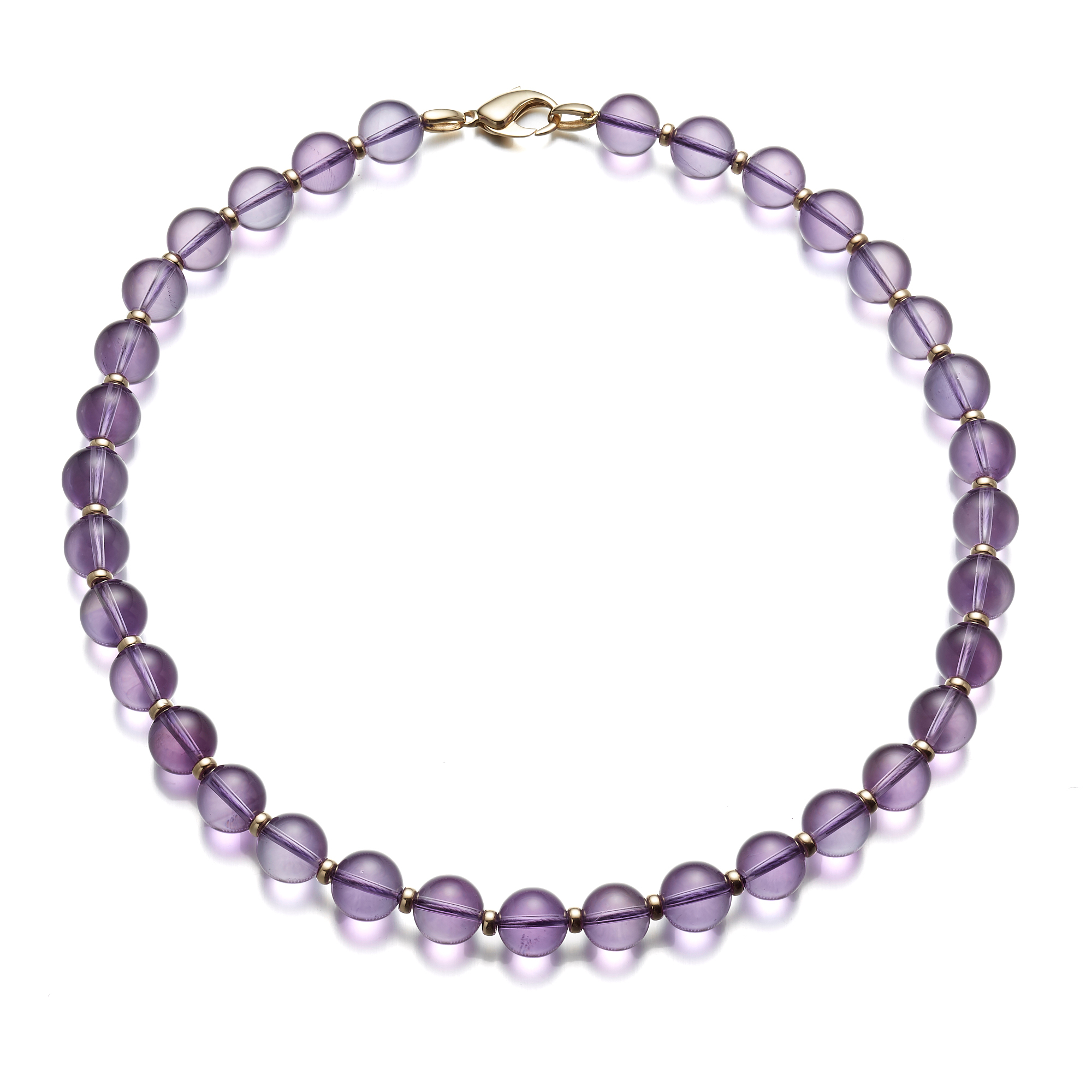 Amethyst Bead & Gold Necklace