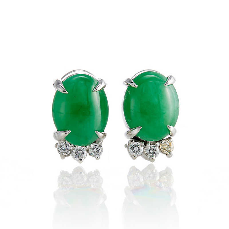 Gump's Green Jadeite Cabochon & Diamond Earrings