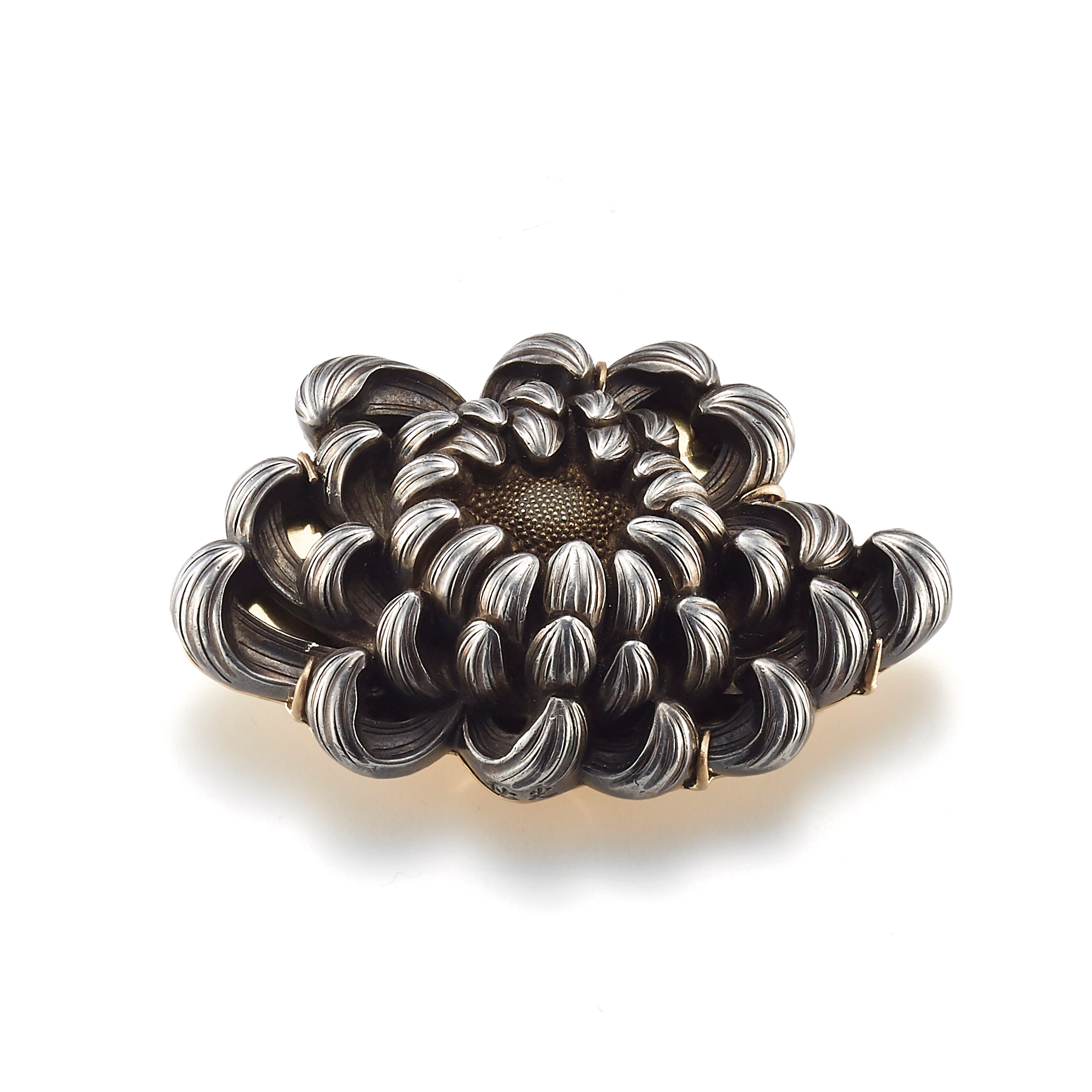 Gump's Antique Silver Chrysanthemum Obi-Dome Brooch