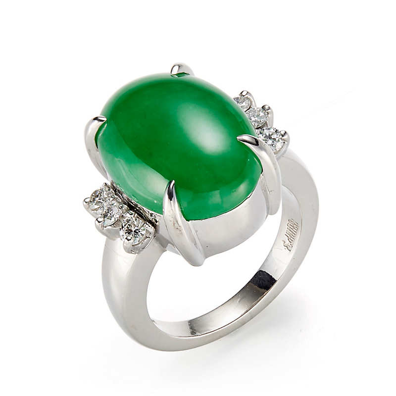 Gump's Green Jadeite Cabochon & Diamond Ring