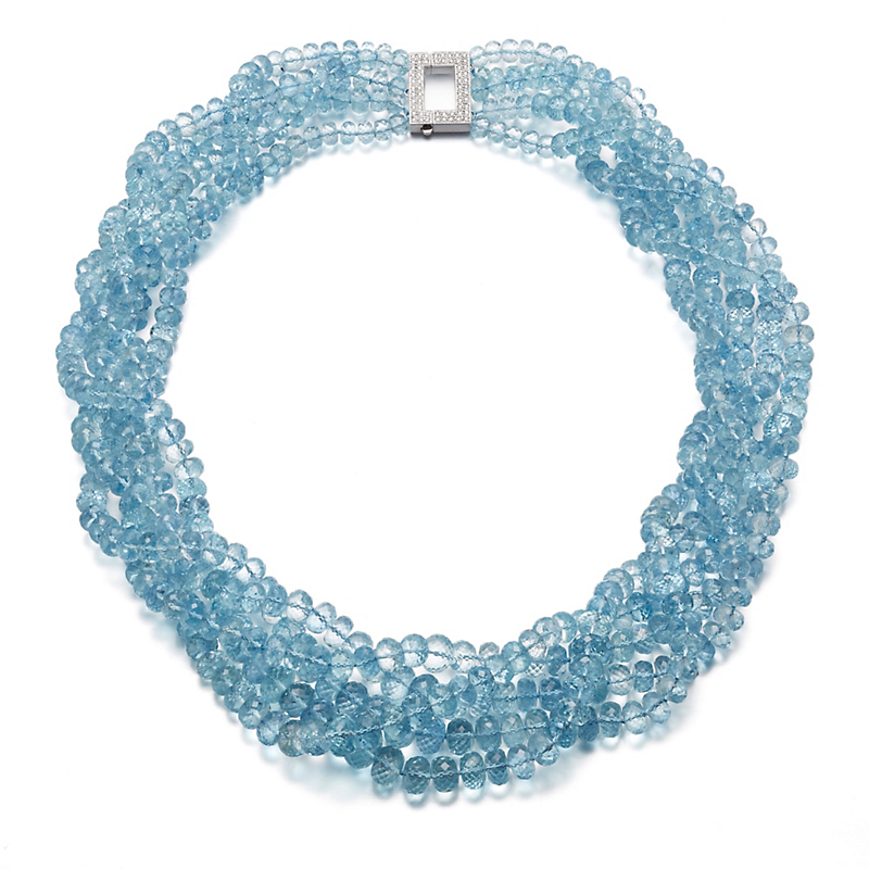 Gump's Faceted Aquamarine & Pavé Diamond Necklace