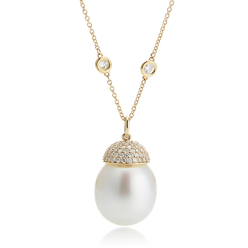 Gump's South Sea Pearl & Diamond Pendant Necklace