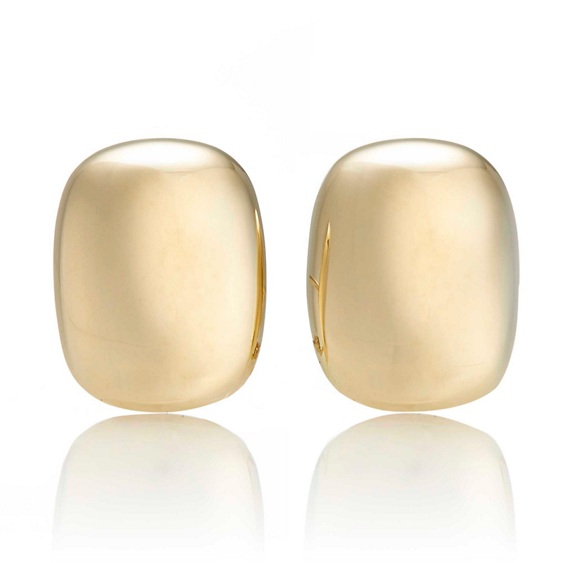 Polished Rounded Rectangle Gold Earrings