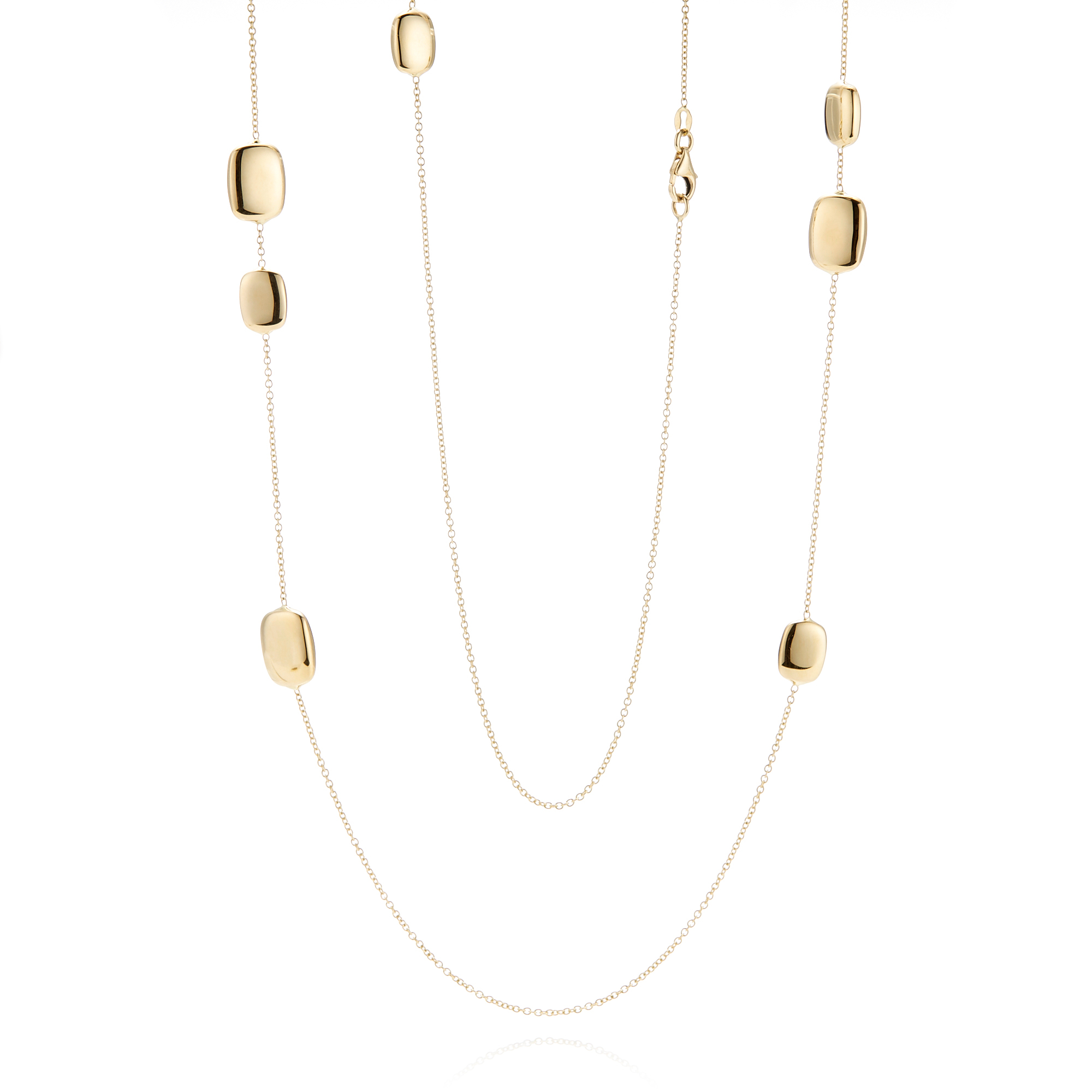 Polished Rounded Rectangle Gold Station Necklace