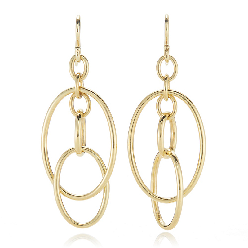 Gold Multi-Link Oval Drop Earrings