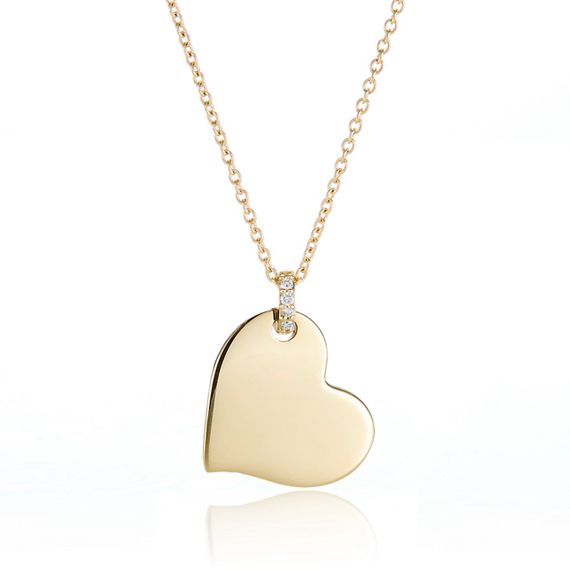 Gump's Offset Heart with Diamond Charm Necklace