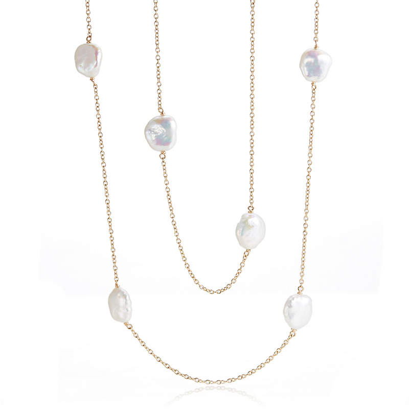 Gump's Baroque Petal Pearl Station Necklace