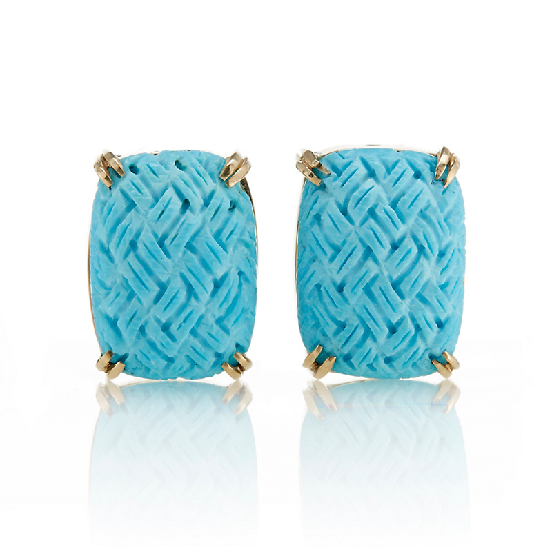 Gump's Turquoise Basketweave Earrings