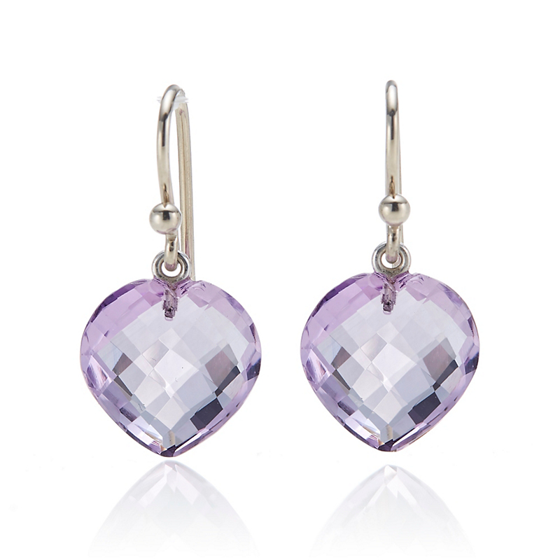 Gump's  Amethyst Heart Drop Earrings
