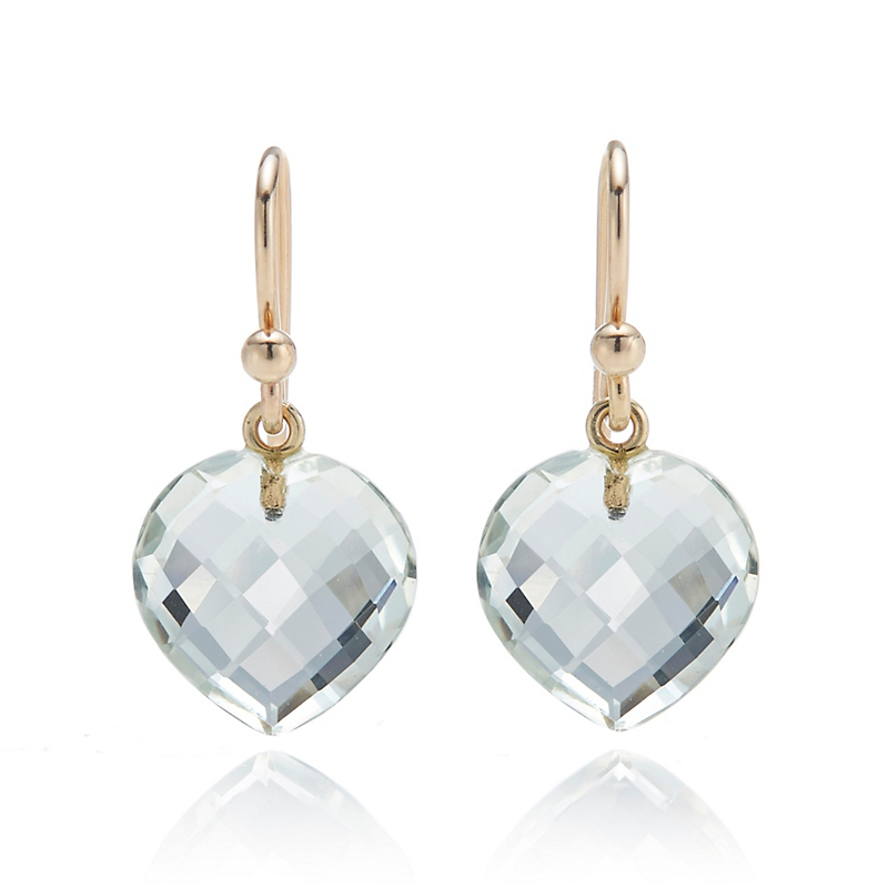 Gump's  Green Quartz Heart Drop Earrings