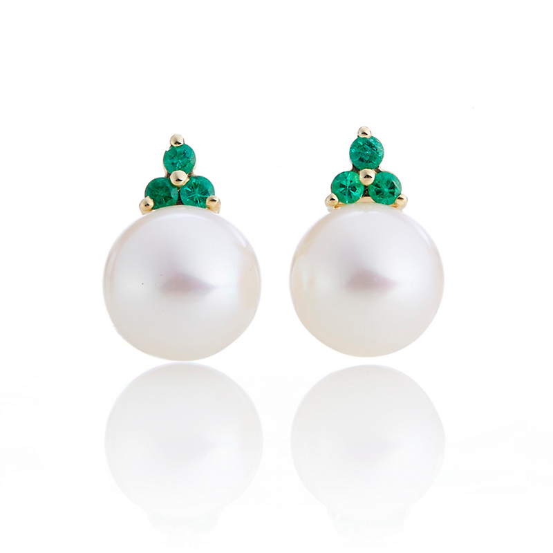 Gump's Pearl & Emerald Trio Stud Earrings