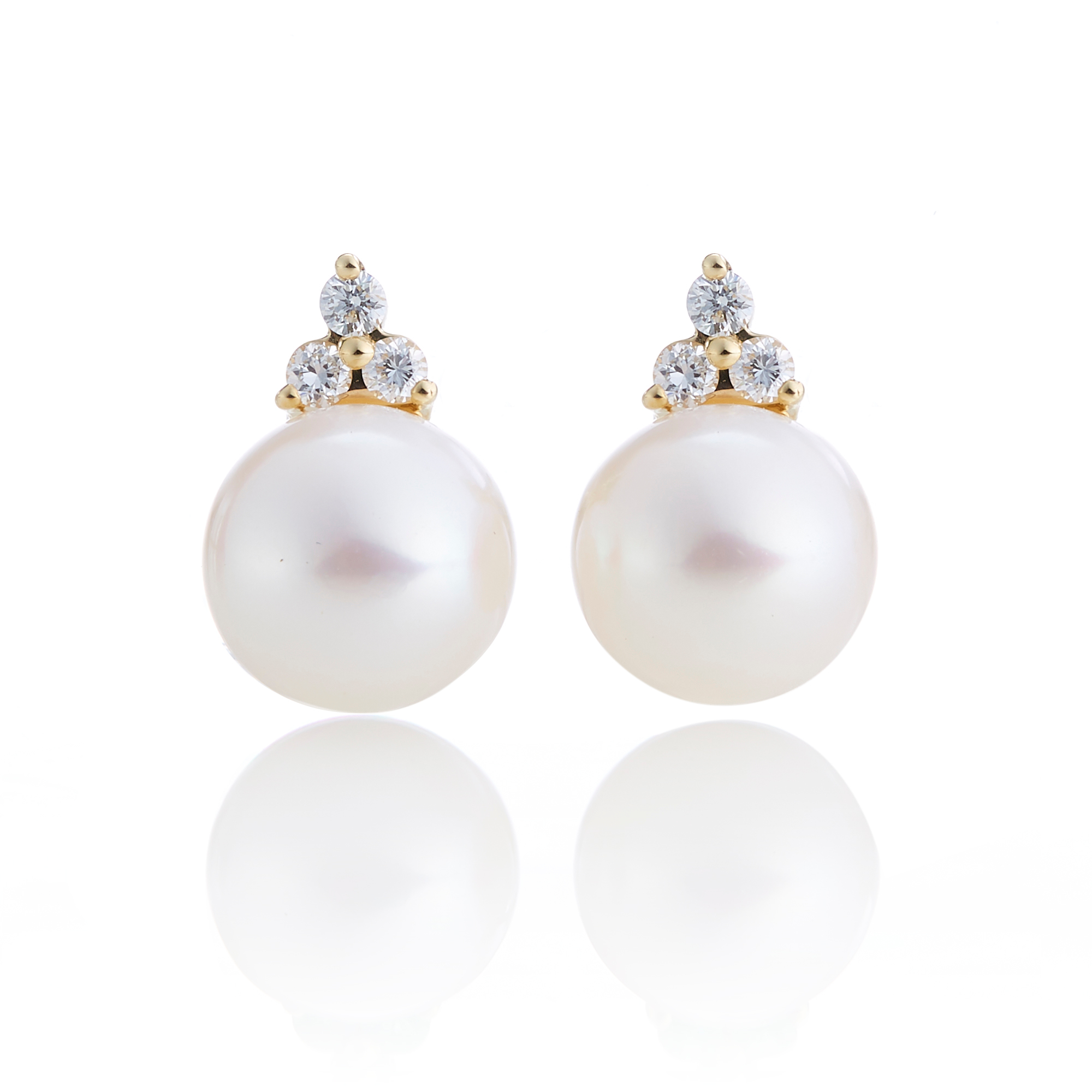 Gump's Pearl & Diamond Trio Stud Earrings