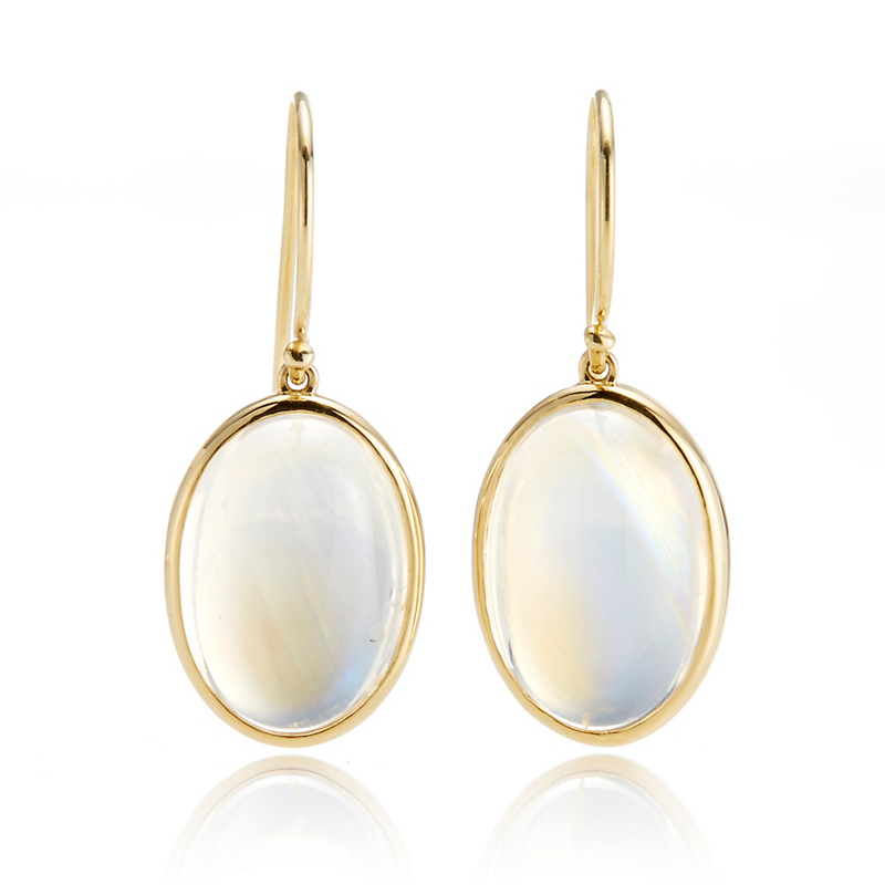 Gump's Oval Moonstone Drop Earrings