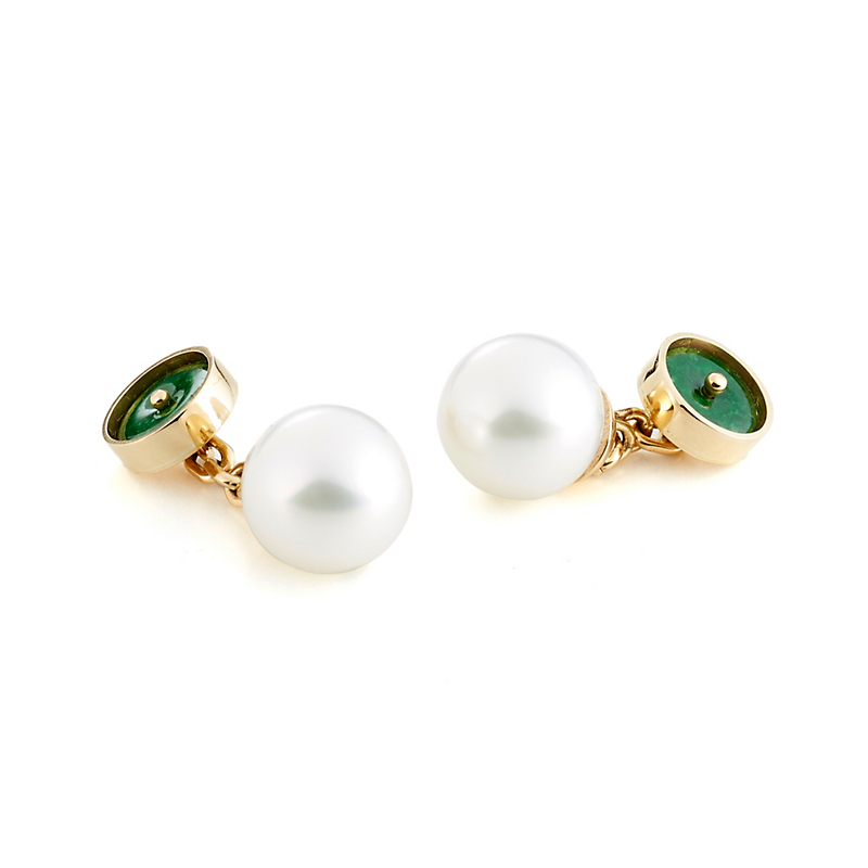 Gump's South Sea Pearl & Green Jadeite Disc Cufflinks