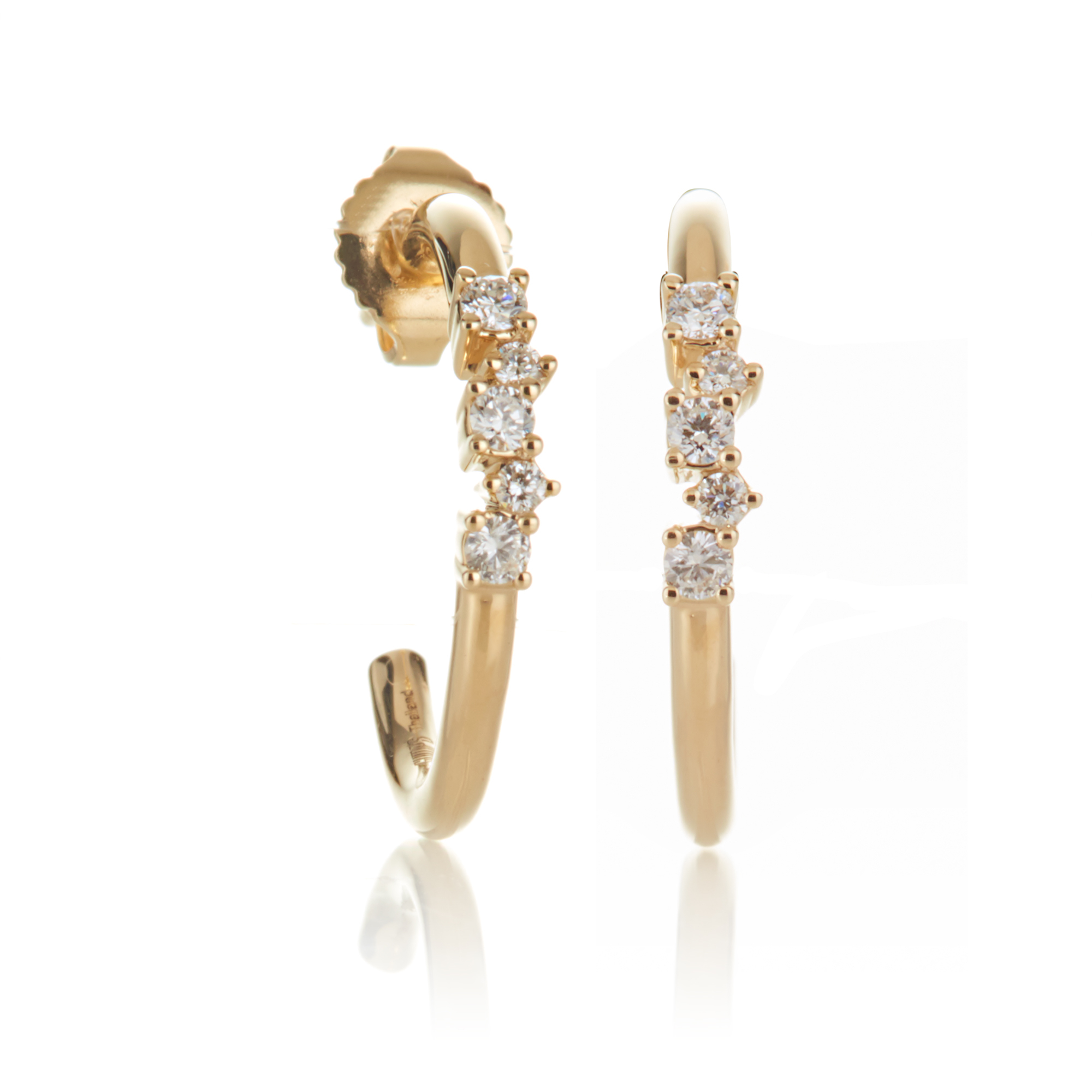 Gump's Diamond Cluster & Gold Hoop Earrings