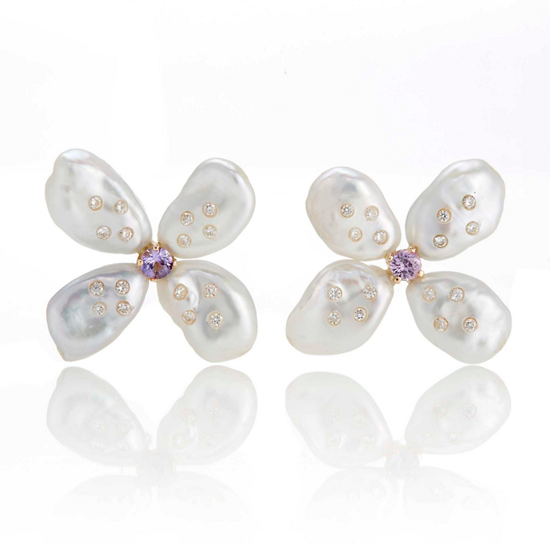Russell Trusso Petal Pearl Earrings With Purple Sapphires & Diamonds