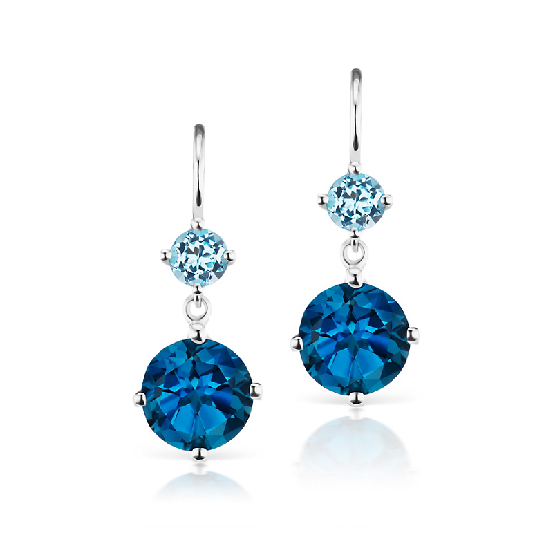 Jane Taylor Blue Topaz & London Blue Topaz Double Drop Earrings