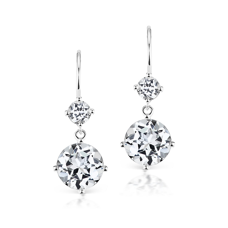 Jane Taylor White Topaz Double Drop Earrings