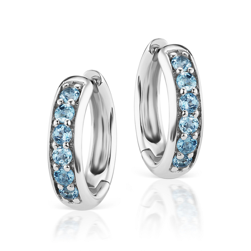 Jane Taylor White Gold & Aqua Huggie Earrings