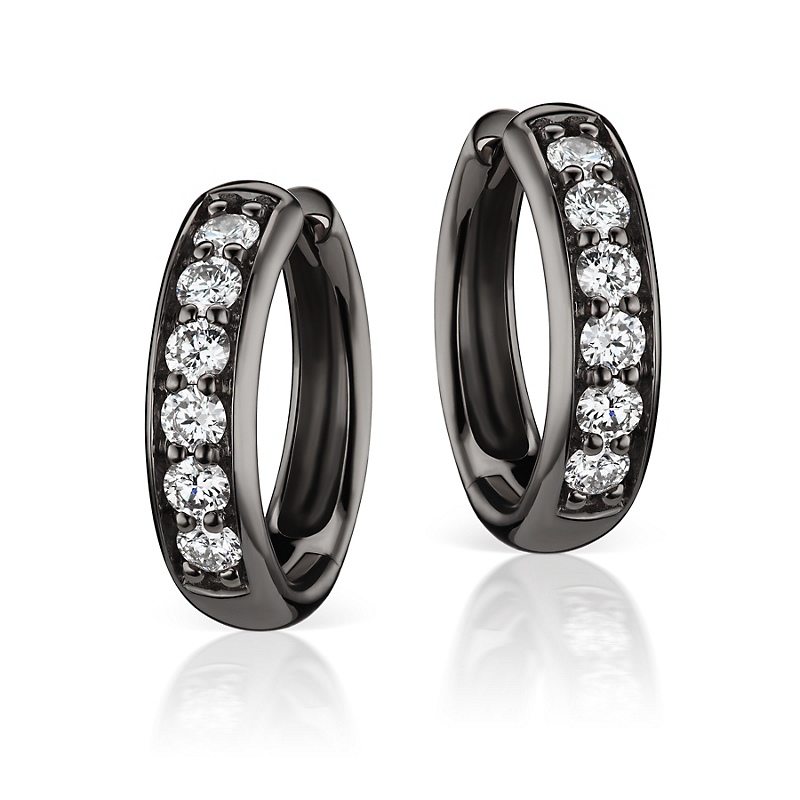 Jane Taylor Black Gold & Diamond Huggie Earrings