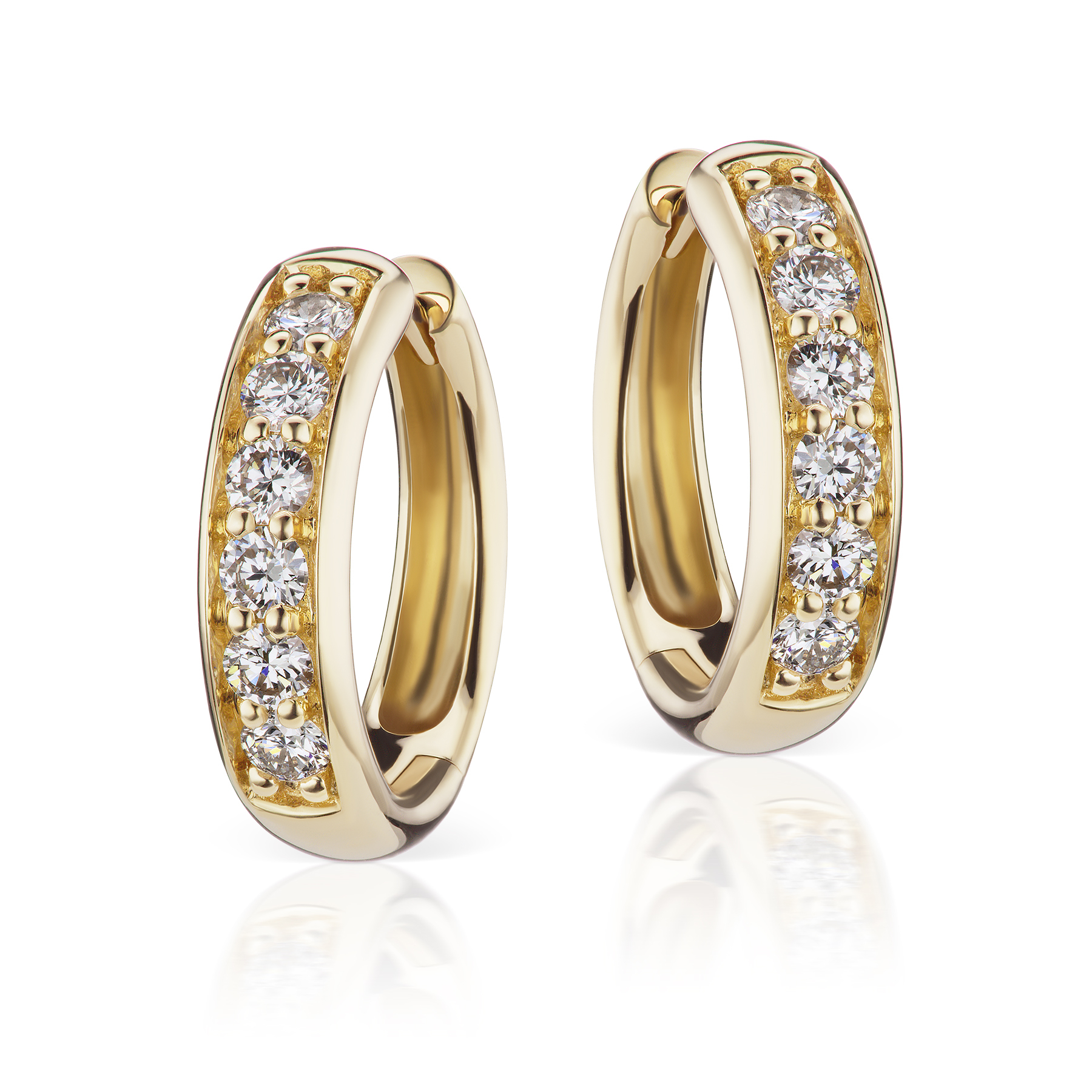 Jane Taylor Yellow Gold & Diamond Huggie Earrings
