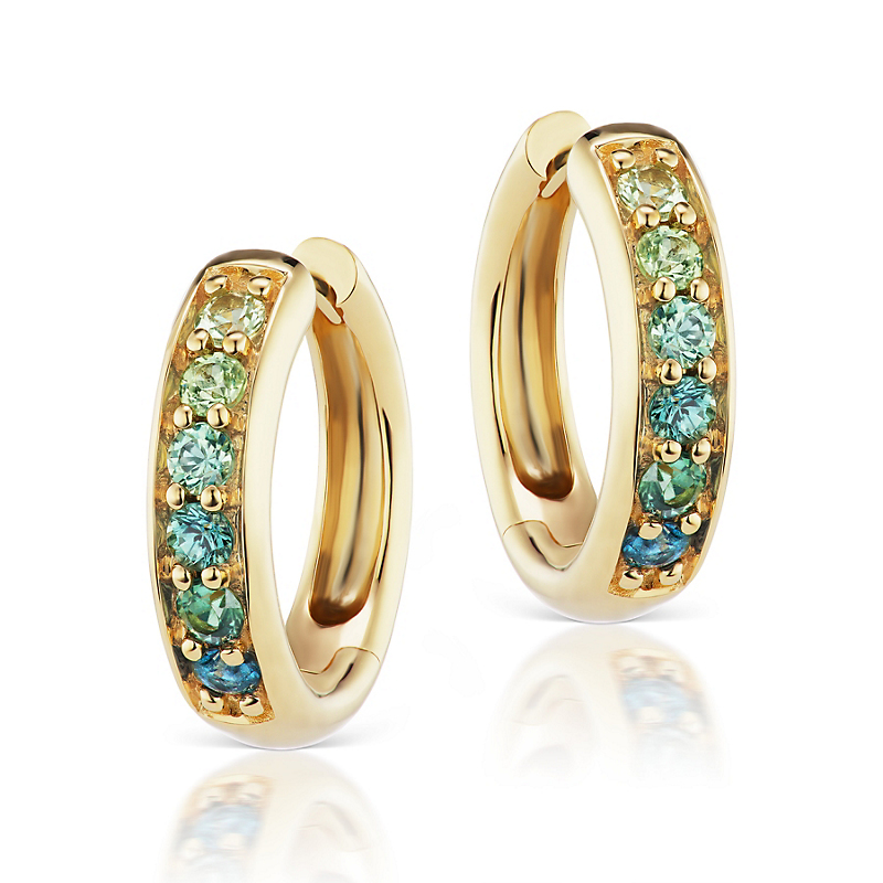 Jane Taylor Multi Green Sapphire Huggie Earrings