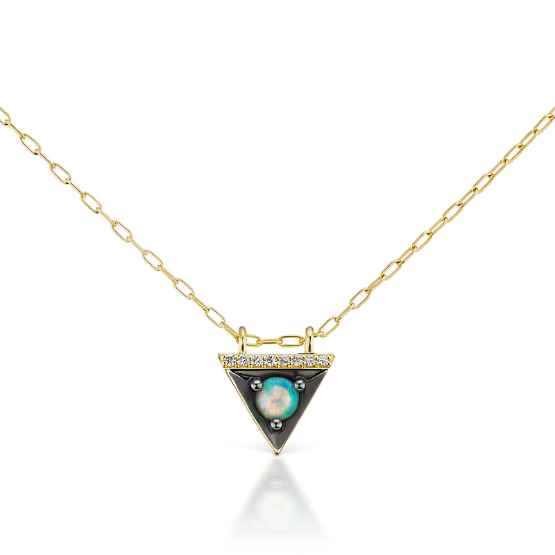 Jane Taylor Opal & Diamond Triangle Pendant Necklace