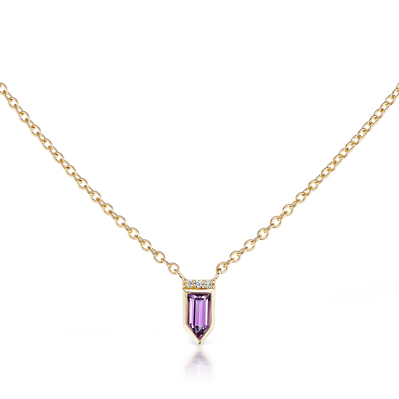 Jane Taylor Petite Amethyst Arrow Pendant Necklace