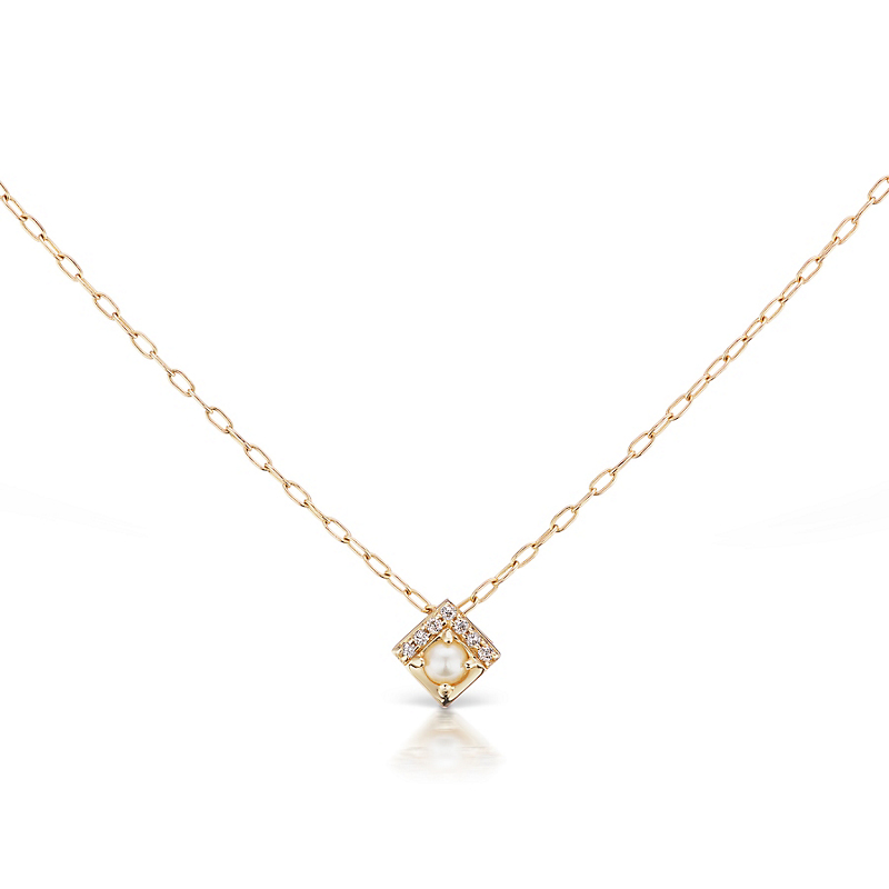 Jane Taylor Petite Square Pearl Pendant Necklace