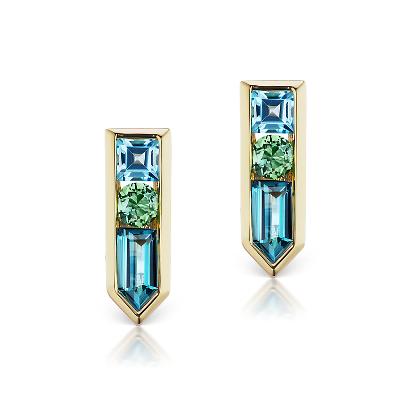 Jane Taylor London Blue Topaz, Green Tourmaline & Blue Topaz Arrow Stud Earrings