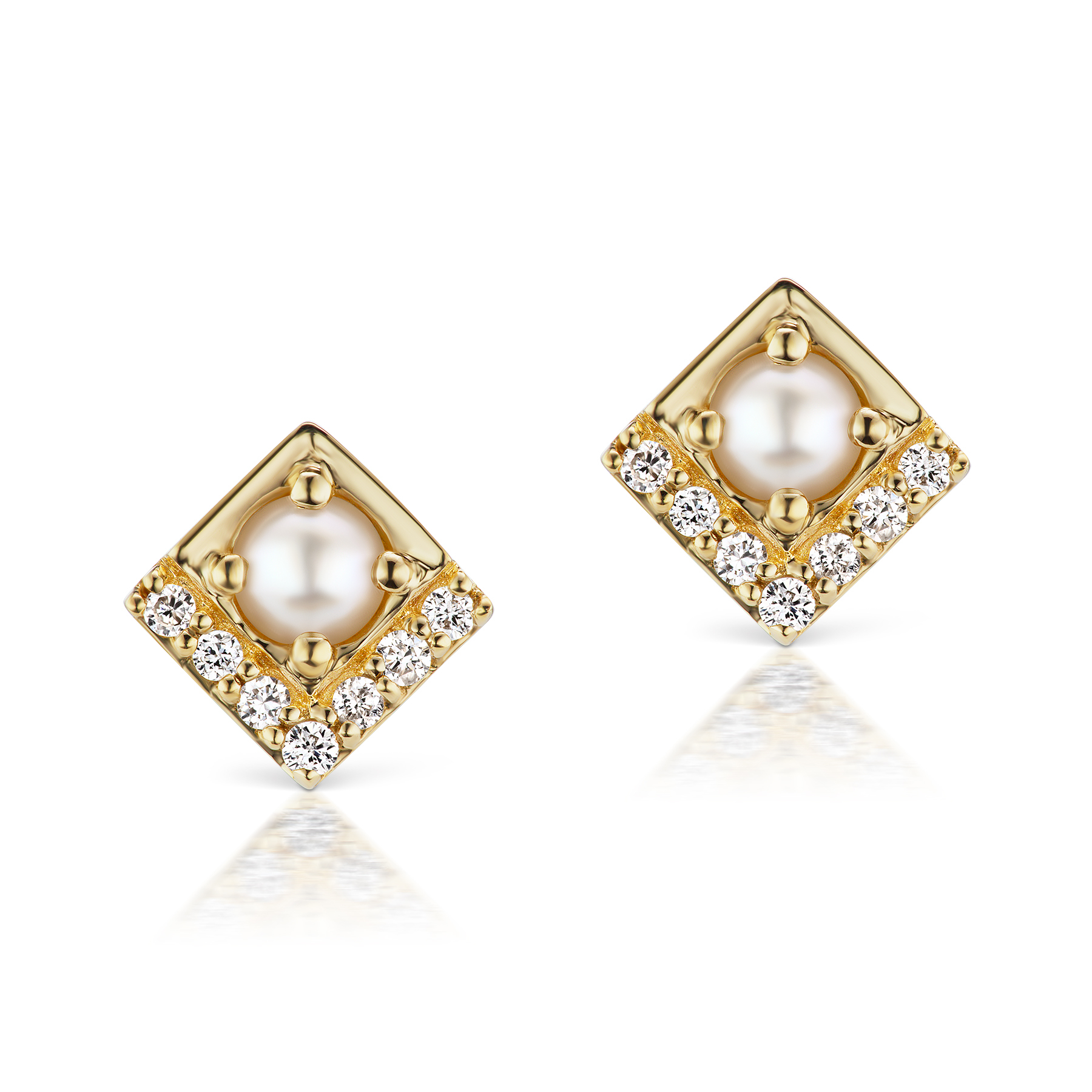 Jane Taylor Pearl & Diamond Petite Square Stud Earrings