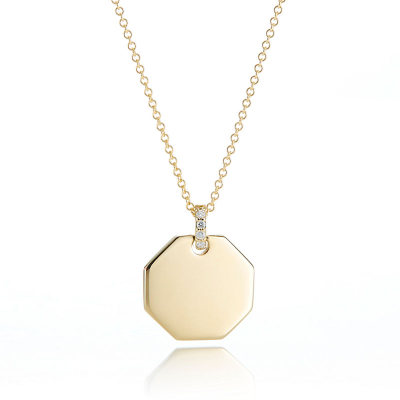 Gump's Octagonal Pendant Necklace With Diamonds