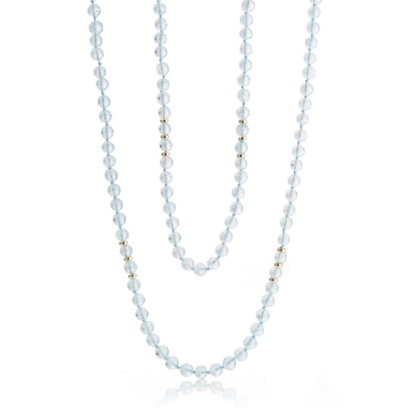 Gump's Round Faceted Aquamarine Rope Necklace