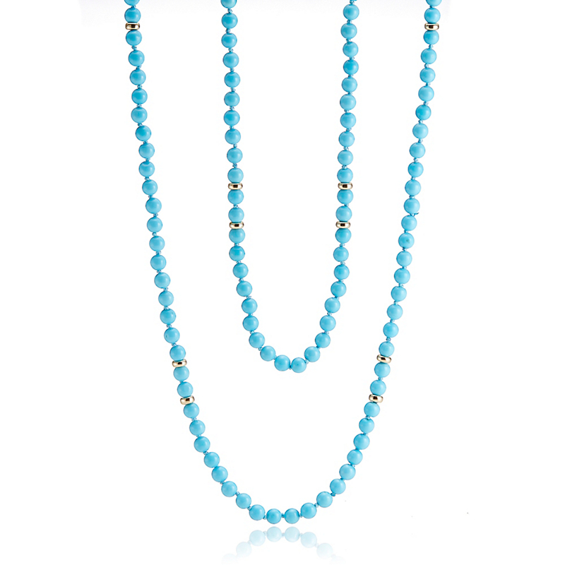 Gump's  Turquoise Rope With Gold Rondelles
