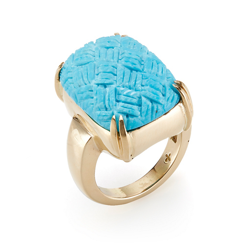Gump's Turquoise Basketweave Ring