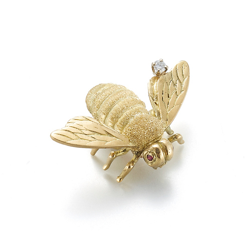 Textured Gold Bee Brooch With Diamond