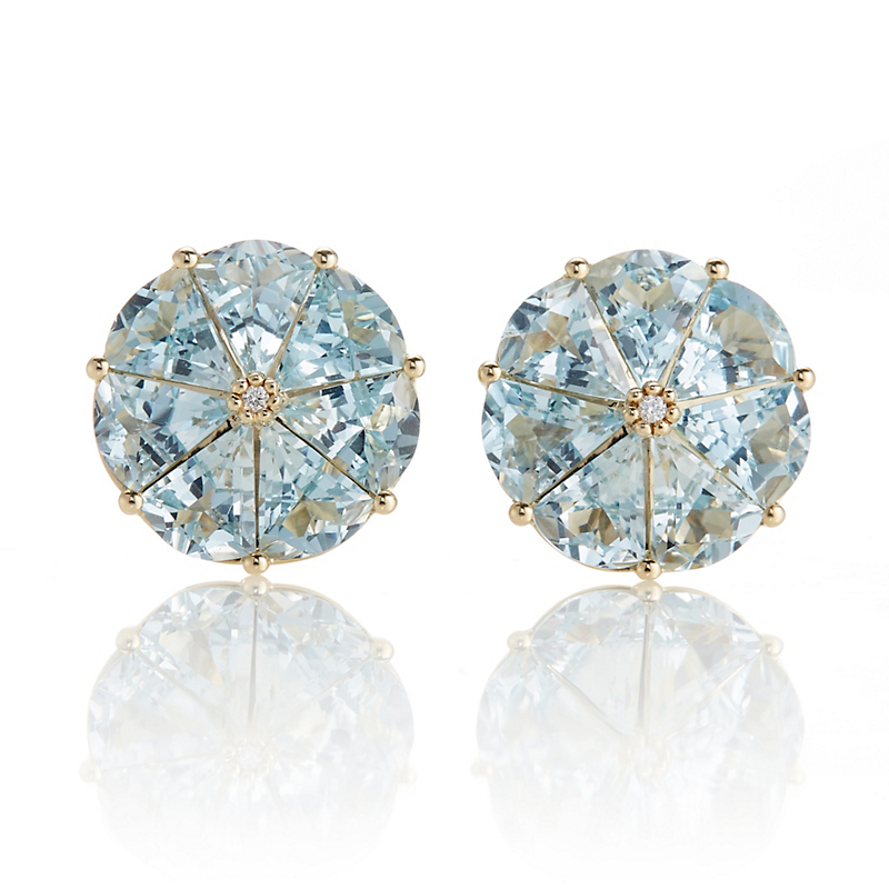 Gump's Aquamarine Round Pinwheel Earrings