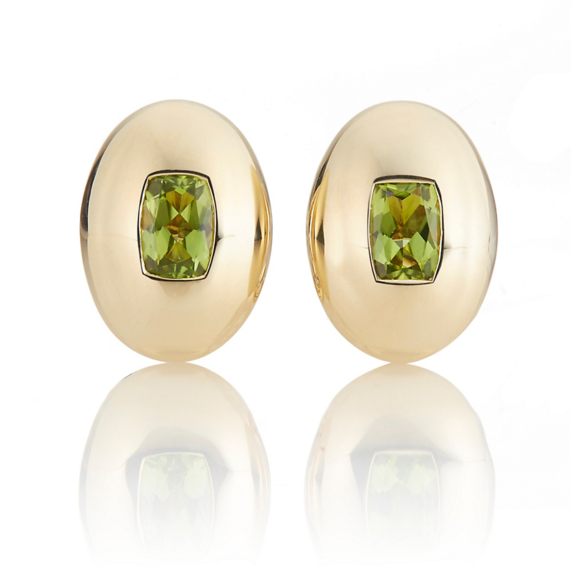 Oval Shield Peridot Earrings